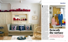 Beneath the surface, 3 page feature in The Observer Magazine about Patrick Hughes & Di Atkinson's fabulous factory home.
