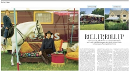 Roll Up, Roll Up - 4 page article in The Telegraph Magazine showing the summer and winter homes of the late Nell Gifford.