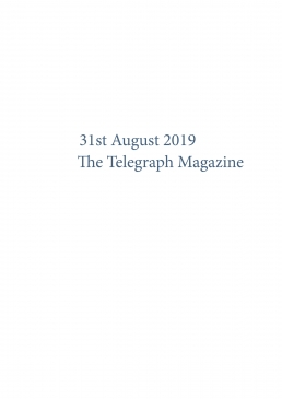 31st August 2019 The Telegraph Magazine Front Cover